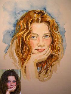 Girl in watercolour watercolour portrait original by MBPortraiture, £80.00