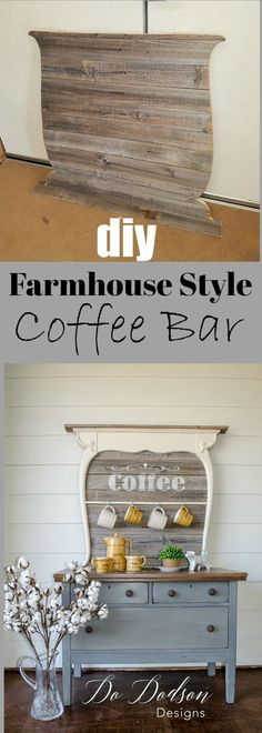 Vintage wash stand repurposed into a functional coffee bar. Farmhouse style coffee bar.