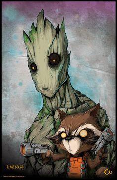 Rocket Raccoon and Groot by Chris Uminga