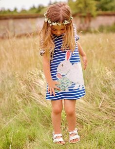 >> Click to Buy << Cute Baby Girl Clothes Summer Dress Blue Short sleeve Stripe Rabbit Cartoon T shirt Top Clothes infantil Vestido 3-7Y Clothing #Affiliate