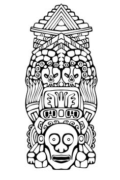 Free coloring page coloring-adult-totem-inspiration-inca-mayan-aztec-3. Totem inspired by Aztecs, Mayans and Incas - 3 (Source : rocich / 123RF)