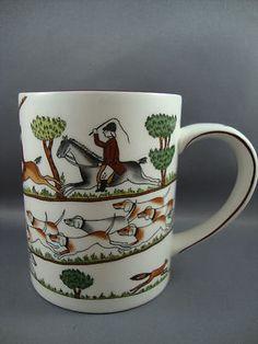 Coalport Hunting Scene Coffee Tea Cup Horse Dog Trail Trees Chase Vivid Colors | eBay
