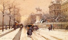 Painting of the Day! Eugene Galien-Laloue (1854-1941) - Paris in Winter - Watercolour, pencil and gouach To see more works by this artist please visit us at: http://www.artrenewal.org/pages/artwork.php?artworkid=10734