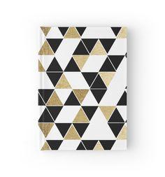 Modern Black, White, and Faux Gold Triangles von Blkstrawberry
