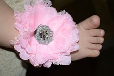 Baby girl light pink barefoot sandals with large by BellaBumbleBee, $13.95