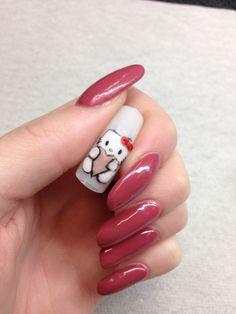 Acrylic Hello Kitty Hello Kitty, Nails, Painting, Ongles, Finger Nails, Painting Art, Paintings, Paint, Sns Nails