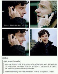 Yeah, that little laugh is really the most touching part of their whole conversation. Clearly it's Sherlock's overwhelming love (not romantically) for John pulling though.