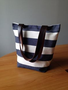 SALE  Navy and ecru stripe tote bag with leather di ickadybag, $29.00