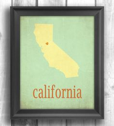 California Giclee Typographic print map art state poster by Mapity, $20.00