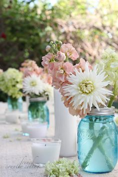 FRENCH COUNTRY COTTAGE: Summer table setting with blue mason jars