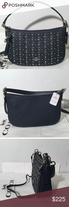 "Coach Floral Rivets Chelsea crossbody bag 100% Authentic COACH  COACH Chelsea   Style name - floral rivets chelsea crossbody Style # - 37702 Condition - brand new w/ tag MSRP - $325.00 Color - navy / black Material - leather Size - 11"" x 7"" H x 2.75"" D Straps - shoulder strap w/ 7"" drop / removable, adjustable crossbody w/ upto 24"" drop Closure - zip top Futures - inside zipper pocket, leather hangtag, care card & dustbag. Lining - custom fabric  Hardware - silver tone Coach Bags Crossbody…"