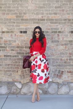 Sweater: H&M   Skirt: ChicWish c/o   Jacket: ChicWish c/o   Heels: Christian Louboutin (similar style)   Glasses: Karen Walker  Lips: Liner-Cherry by MAC, Lipstick-YSL Rouge Pur Couture #13 … A midi skirt in a floral print…I don't think I've ever loved a skirt more! There's something about a midi skirt that is so lady-like [&hellip