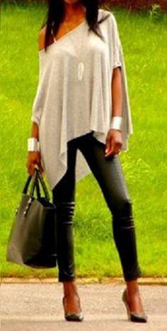 Stylish Ladies Women Round Neck Loose Short Sleeve Irregular T Shirt Tops
