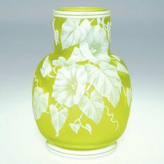 "943: Webb cameo vase, morning glories, citron, 5 1/2"" : Lot 943"