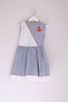 Vintage girls dress nautical red white and blue size by fuzzymama, $12.00