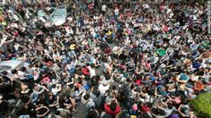 Students occupy the plaza outside Taiwan's Legislature on Wednesday, March 19.