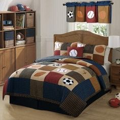 It's easy to create a great looking sports themed bedroom with the My World Classic Sports Quilt Set. This is a quilt set that is perfect for that all around super star of yours who likes to play all Boys Sports Bedding, Sports Quilts, Kids Bedding Sets, Comforter Sets, Basketball Bedding, Colchas Country, French Country, Baseball Bed, Plaid Bedding
