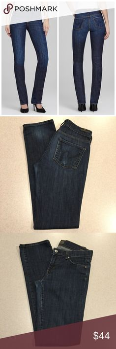 """Citizens Of Humanity Jean 26X33 Elson Mid Straight Citizens of humanity women's jeans Elson high rise straight leg in Pacific Size 26 33 inch long unaltered inseam H logo back pockets Dark blue wash with soft fading Great preowned condition, no flaws Retailed for $178.00 """"Our Elson mid rise straight leg is a great addition to any denim wardrobe. The fit is a slight higher """"comfort"""" rise""""  All of my items come from a smoke free, pet free home and are authenticity guaranteed! Please ask any…"""