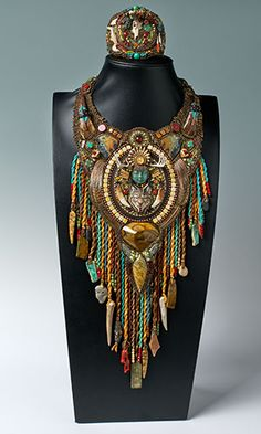 The Shamanic Path Runner-up Best-In-Show Heidi Kummli Bib-Style Necklace and Bracelet Set with Carved Gemstone Components, Gemstone Beads and Seed Beads
