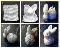 You will love this Knitted Bunny From A Square Pattern and we have a video tutorial that will show you how. Check out all the cute ideas now. Knitting Projects, Crochet Projects, Knitting Patterns, Crochet Patterns, Knitted Bunnies, Knitted Animals, Crochet Diy, Fabric Squares, Hobbies And Crafts