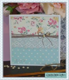 """"""" Shabby Rose """" traditional opening invitation with printed paper insert and pretty pearl, comes with RSVP card & printed reply envelope."""