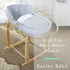 Would you like a Moses basket that's modern, practical & super cosy for your baby? Well, the Clair de Lune Barley Bébé High Top Palm Moses Basket ticks all those essential boxes.