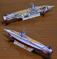 The Gotengo, also known in the West as Atragon, is a fictional submarine battleship that has appeared in several tokusatsu films of Toho Company, Ltd., beginning with Atragon in Paper model from website. Paper Toys, Paper Crafts, Diy Crafts, Free Paper Models, Fantastic Voyage, Paper Ship, Paper Magic, Submarines, Model Ships