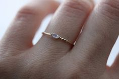 14K Wink Marquise Moonstone Ring Blue Rainbow