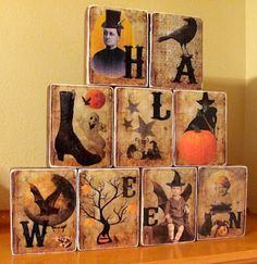 20 Mod Podge Halloween craft tutorials. ~ Mod Podge Rocks!   Might do on wooden blocks