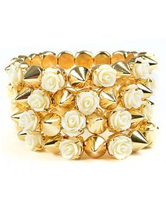 Wanna mix girly & edgy? Get this flower & stud bracelet from @Tessa Marie Style for only $5! #FabFind #ALittleLux