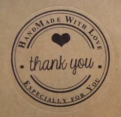 "30 Stickers Labels Round with inscription ""Handmade whit Love - Thank you"" Color Shiny White gift tag Packaging Stickers, Craft Packaging, Soap Packaging, Bakery Logo, Logo Restaurant, Logo Sticker, Sticker Design, Seal Design, Logo Design"