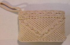 Vintage 1970's Macrame Purse / Clutch / Wristlet   Size Medium #Handmade #Clutch