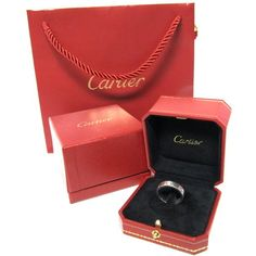 Cartier Platinum Love Band w/ Single Diamond Ring w/ Box and Bag ($1,106) via Polyvore featuring jewelry, rings, diamond band ring, platinum diamond ring, platinum jewellery, platinum ring and band rings