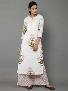 Pink Green Poppy Cotton Kurta with Palazzo - Set of 2 Indian Dresses, Indian Outfits, Indian Attire, Ethnic Fashion, Indian Fashion, Suits For Women, Clothes For Women, Churidar Designs, Indian Ethnic Wear