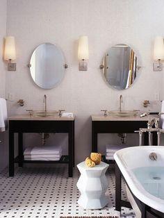 Classic, contemporary bath.  Basket weave + pair of vanities