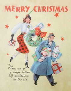 couple shopping at Christmas Vintage Christmas Images, Retro Christmas, Vintage Holiday, Christmas Pictures, Holiday Images, Christmas Decor, Holiday Decor, Christmas Hearts, Old Fashioned Christmas