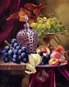 "Maher Art Gallery: Iva Rom-Lorenz - ""Prague Still- Life"" Still Life Artists, Fruit Painting, Grape Painting, Still Life Fruit, Art Moderne, Fruit Art, Cross Paintings, Science Art, Still Life Photography"