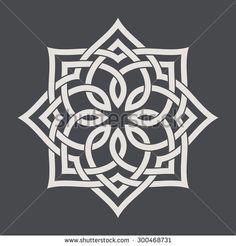 Circular pattern in arabesque style. Eight pointed star on dark background. Mandala. Lotus. - stock vector