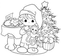 Pinto Dibujos: Precious Moments esperando a Santa Claus para colorear