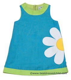 Florence Eiseman Girls Turquoise Flower Petal Linen Blend Shift Dress