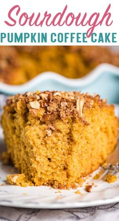 Wondering how to use up your Amish sourdough starter? Try this easy Pumpkin Sourdough Coffee Cake. It has a tangy flavor that pairs beautifully with the pecan streusel topping. via @thebestcakerecipes #sourdough #cake #pumpkin Amish Sourdough Starter Recipe, Sourdough Coffee Cake Recipe, Amish Bread Recipes, Sourdough Recipes, Homemade Cake Recipes, Delicious Cake Recipes, Cupcake Recipes, Yummy Cakes, Dessert Recipes