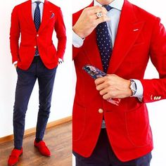 My favorite color Red Blazer Outfit, Blazer Outfits Men, Blazer Jacket, Man Dressing Style, Designer Suits For Men, Look Man, Mens Fashion Wear, Brown Suits, Men Style Tips