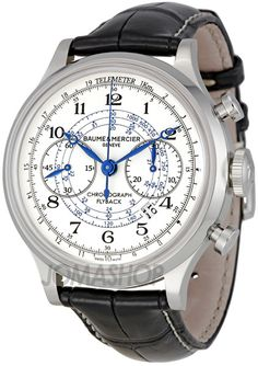 Baume and Mercier Capeland White Dial Chronograph Mens Watch. List price: $7500
