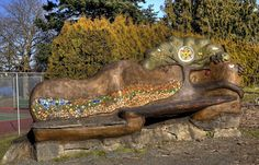 Cob bench in Victoria