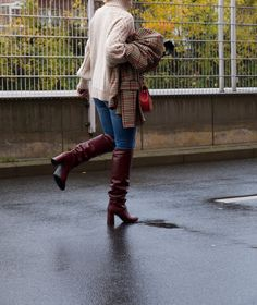 Burgundy Boots, Red Boots, Houndstooth Jacket, Leather Boots, My Style, Sexy, Jackets, Shopping, Shoes