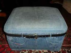 "hahaha seriously?  this was on craigslist.  ""unique denim ottoman"""