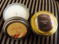 Amaretto Nog - A blend of sweet almond and vanilla combine in the classic holiday scent. Hand poured soy wax candles free from harmful toxins like benzene and toluene. Our wick is constructed from natural, flat, cotton threads interwoven with paper threads and contains no lead, zinc or other metals.
