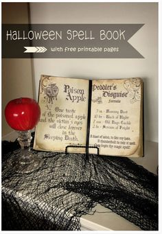 Halloween spell book with printable pages