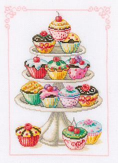 free cup cake cross stich patern | cross stitch kit cupcake anyone is a gorgeous counted cross stitch ...                                                                                                                                                      More