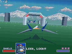 Starfox (1993) on the SNES. One of the first games to use a 3D polygon environment.